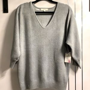 Plus Size 1X Soft Light Grey sparkly Pullover